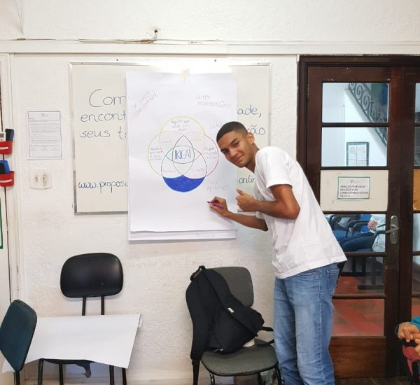 Student in favela filling out IKIGAI