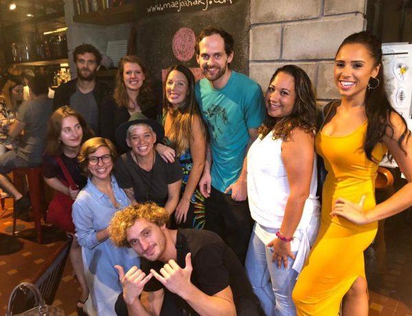 EduMais volunteers at a fundraiser and social for Anna Bowman's IronMan 70.3 at Mãe Joana bar, Botafogo, Rio de Janeiro