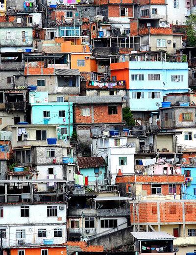 Pavão-Pavãozinho and Cantagalo Favelas close up showing tightly packed housing