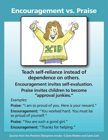 Encouragement vs. Praise poster saying to teach self-reliance instead of dependence on others among other things
