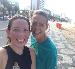 EduMais founder Diana with volunteer teacher Anna after training on Copacabana beach, Rio de Janeiro